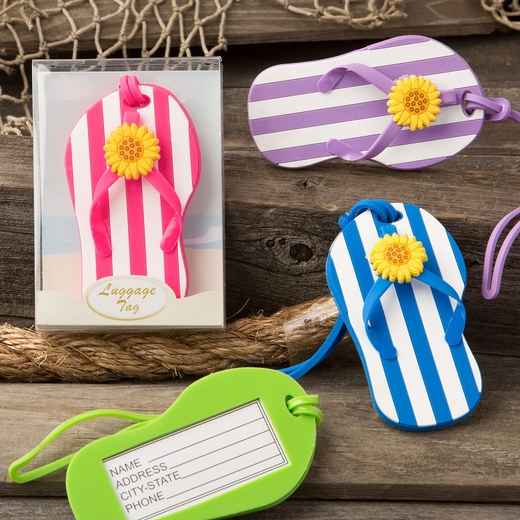Flip Flop Luggage Tags with Striped Design