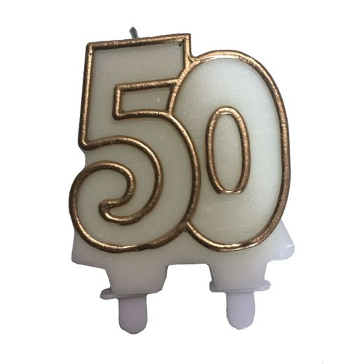 """Gold """"50"""" Candle"""