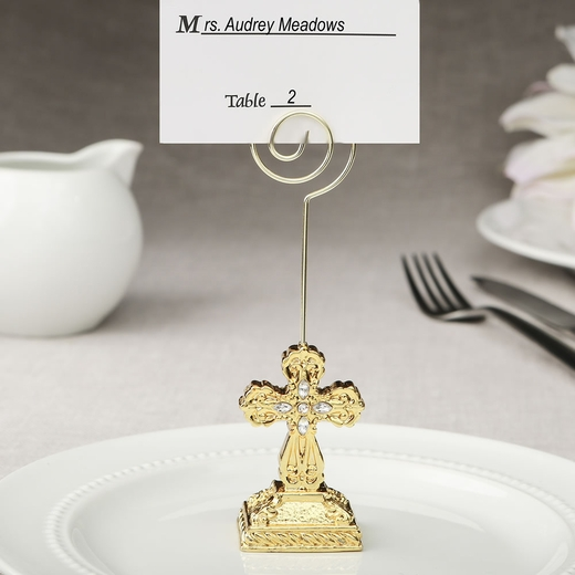 Gold Cross Themed Placecard Holder / Photo Holder