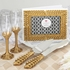 Gold Lattice Botanical Collection Set Consisting of a Cake Knife Set a Flute Set and a Guest Book