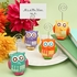 Hand Painted Ceramic Owl Design Place Card/photo Holders