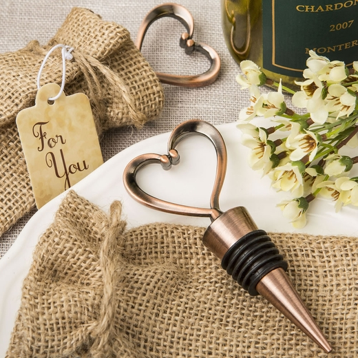 Heart Shaped Metal Bottle Stopper in a Copper Plated Finish in a Burlap Bag