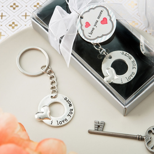 I Love You More' Silver Metal Key Chain with Embossed Heart Design