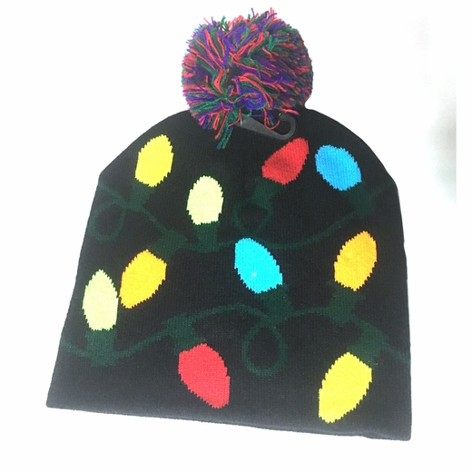 Light Up Christmas Bulbs Knit Hat