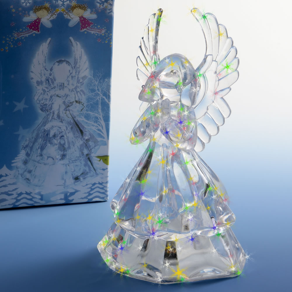 Light Up Clear Acrylic Angel Centerpiece / Cake Top