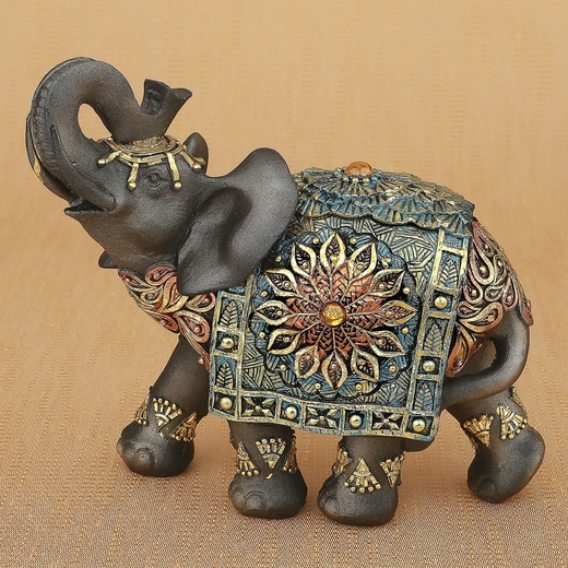Mahogany Brown Elephant with Colorful Headdress and Blanket Large Size