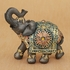 Mahogany Brown Elephant with Colorful Headdress and Blanket Medium Size