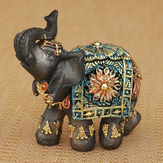 Mahogany Brown Elephant with Colorful Headdress and Blanket Mini Size