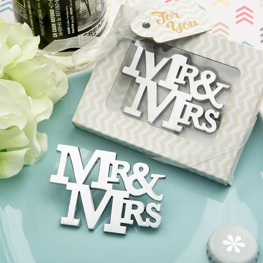On Trend Mr and Mrs Silver Metal Bottle Opener