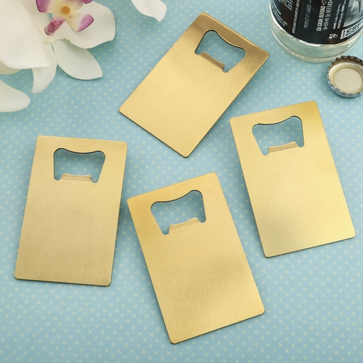 Perfectly Plain Collection Credit Card Brushed Gold Stainless Steel Bottle Opener