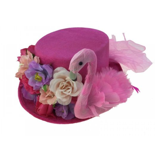 Pink Flamingo Hat With Flowers