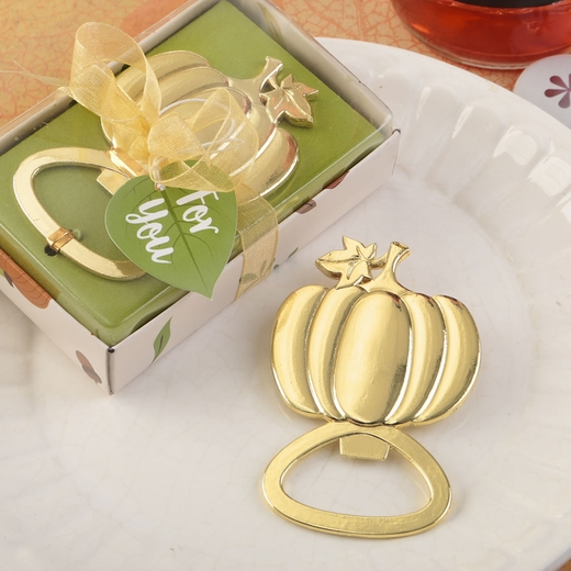 Pumpkin Design Gold Metal Bottle Opener