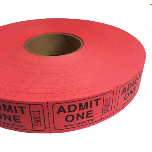 Red Admit One Ticket Roll