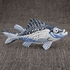 Sea Fish Figurine Decorative Standing Object in Blue and White Finish