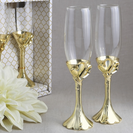 Set of 2 Gold Heart Themed Toasting Flutes
