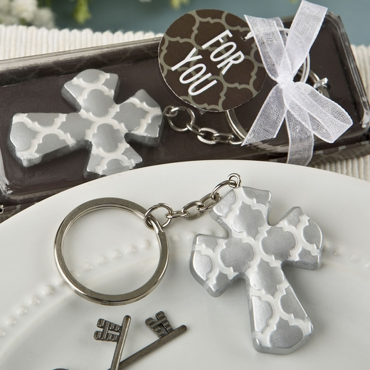 Silver Cross Key Chain with a Hampton Link Design