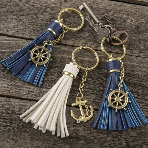 Tassel Key Chains with Anchor or Ships Wheel