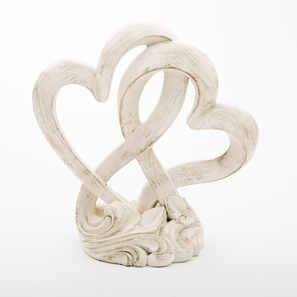Vintage Style Double Heart Design Cake Topper / Centerpiece