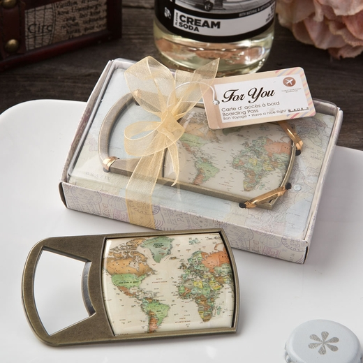 Vintage Travel Themed Map Design Metal Bottle Opener