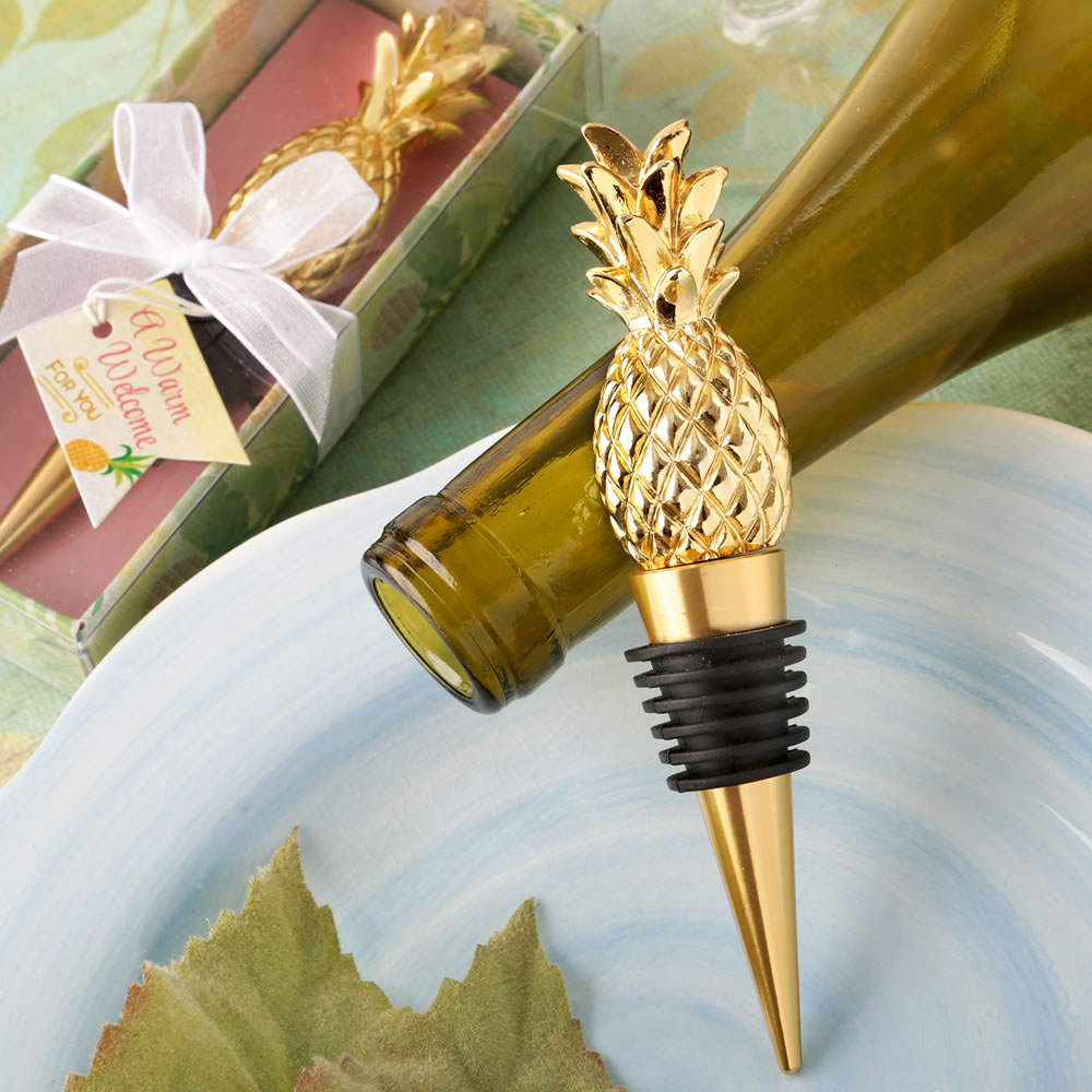 Warm Welcome Collection Pineapple Themed Gold Bottle Stopper