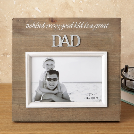 Wood Frame with Raised Metal Words 6 x 4 Dad