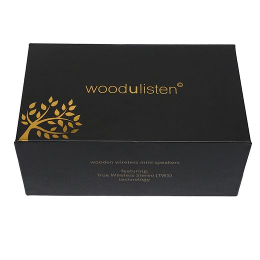 WoodUListen Natural Beechwood Bluetooth Speakers With Charging Dock