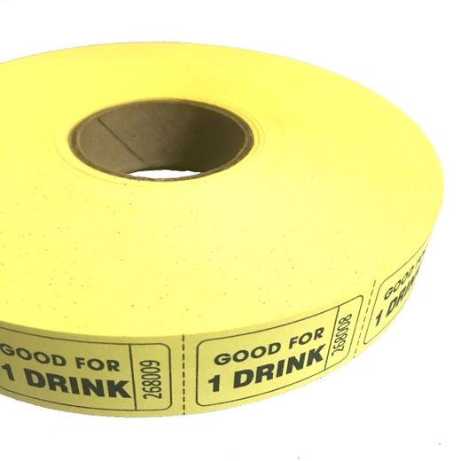 Yellow Good For One Drink Ticket Roll