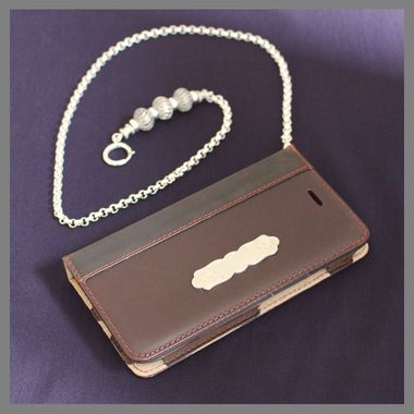 iPhone 6 Engraved Leather Case with Sterling Silver Chain & Beads
