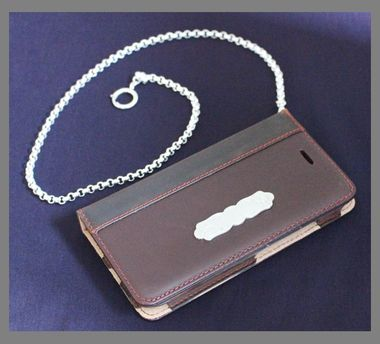 iPhone 6 Engraved Leather Case with Sterling Silver Chain