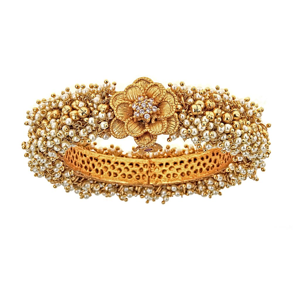 Chava Floral Pearl Cuff Bracelet