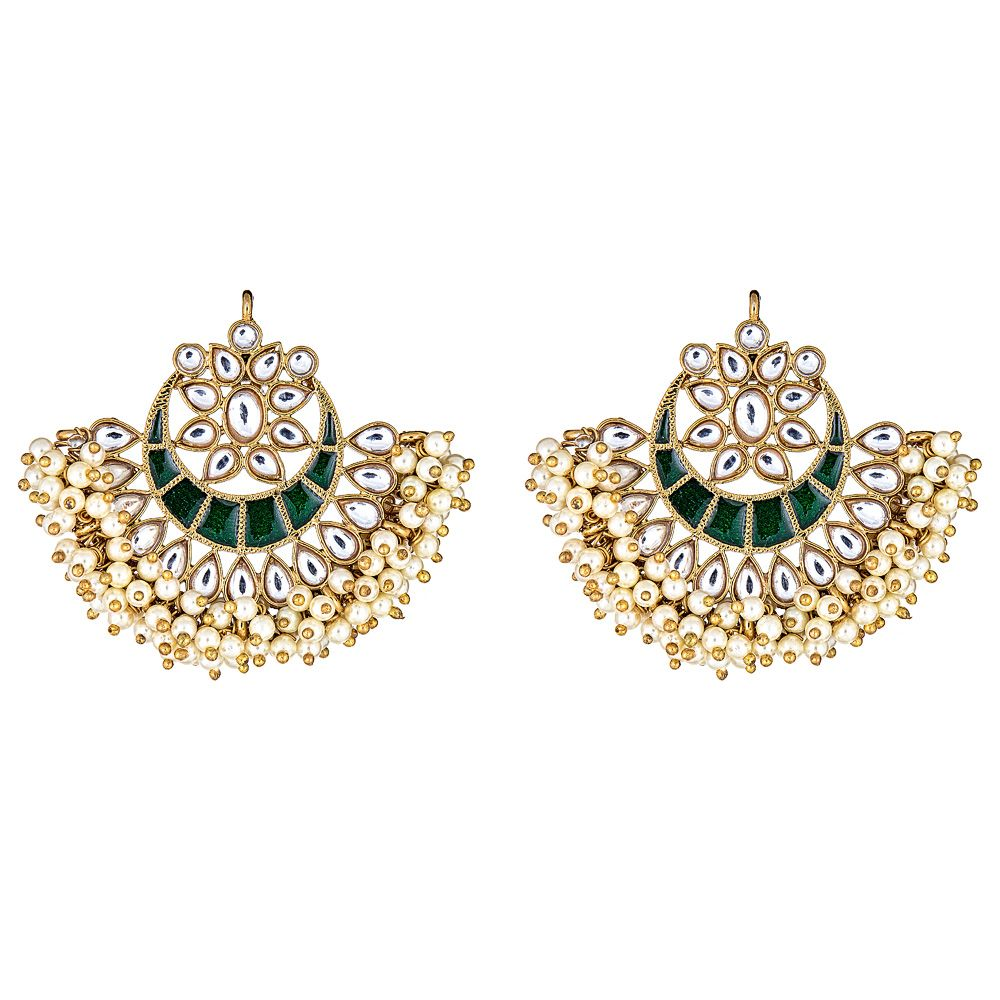 Esma Crescent Earrings in Green
