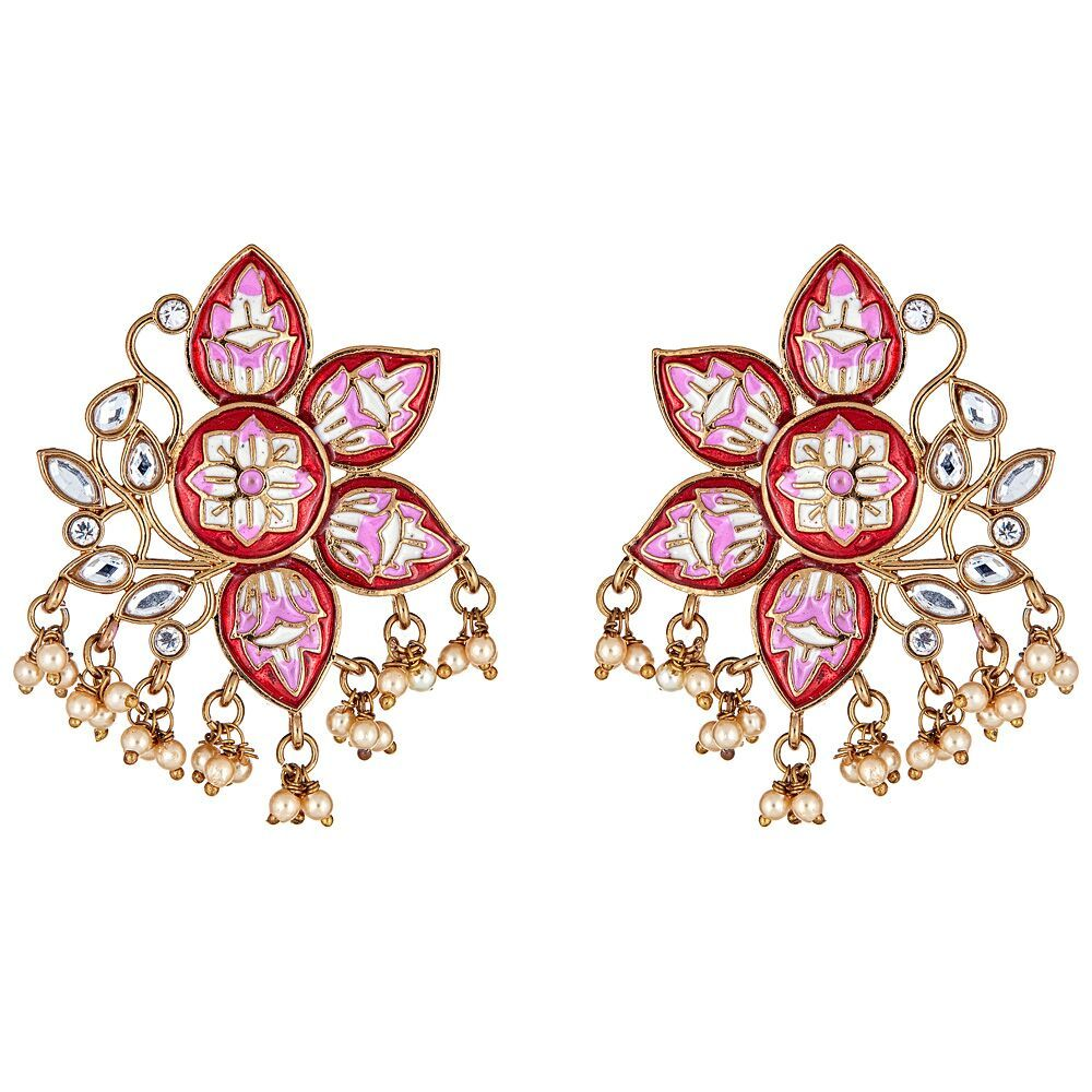 Mabel Floral Earrings in Red