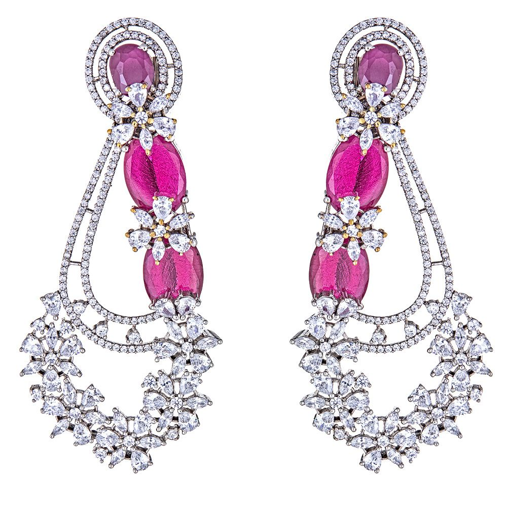 Kalene Ruby Drop Floral Earrings