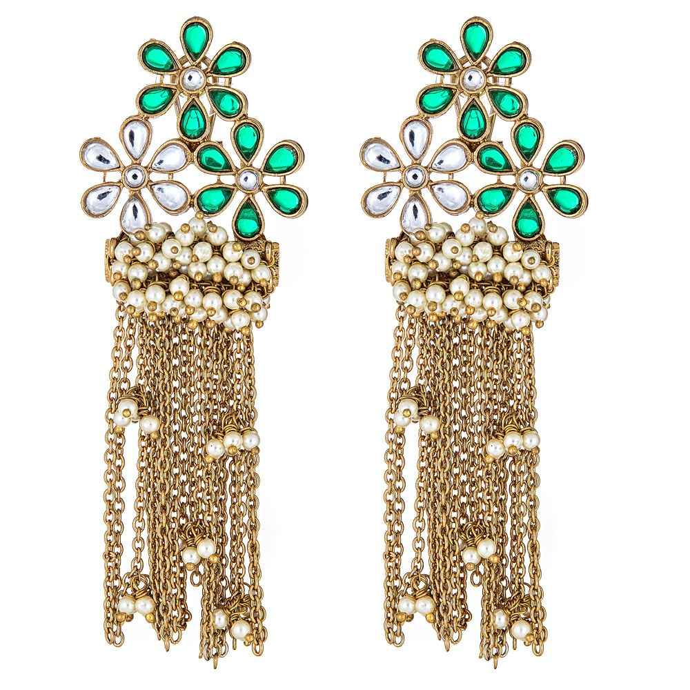 Keely Floral Earrings in Emerald