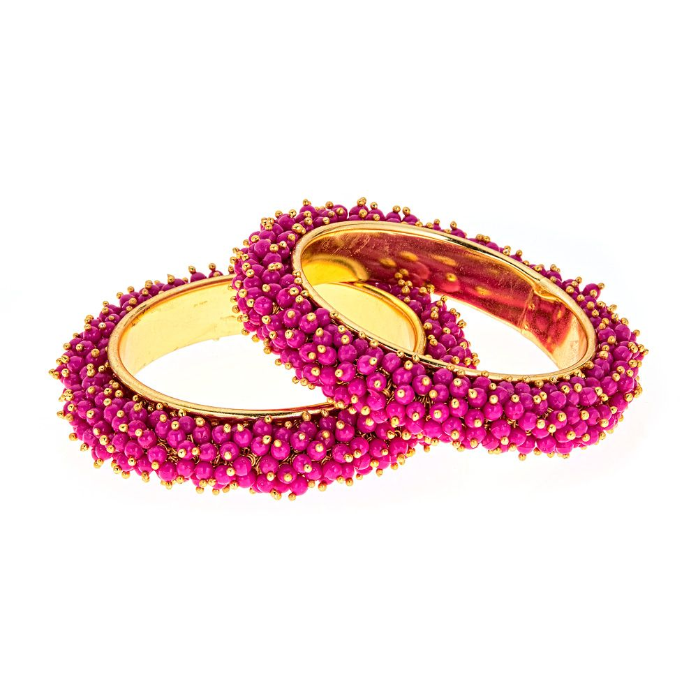Lila                                                                                                                                                                                                                                                                                                                                                                                                                                                                                                                                                                                                                     Lila Pearl Bangle Set in Hot Pink