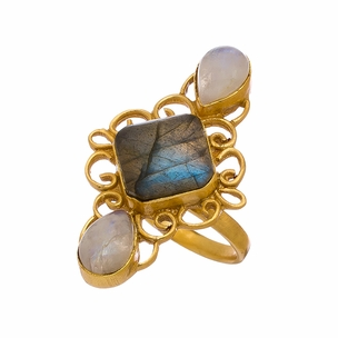 Maya Ring in Labradorite & White Moonstone