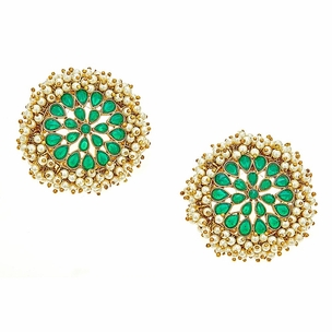 Maya Top Earrings in Emerald