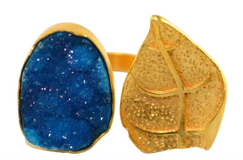 Nora Ring in Blue Druzy