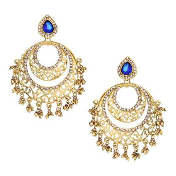 Siva Cresecent Earrings in Blue