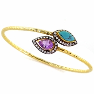 Sonia Bangle in Turquoise & Amethyst