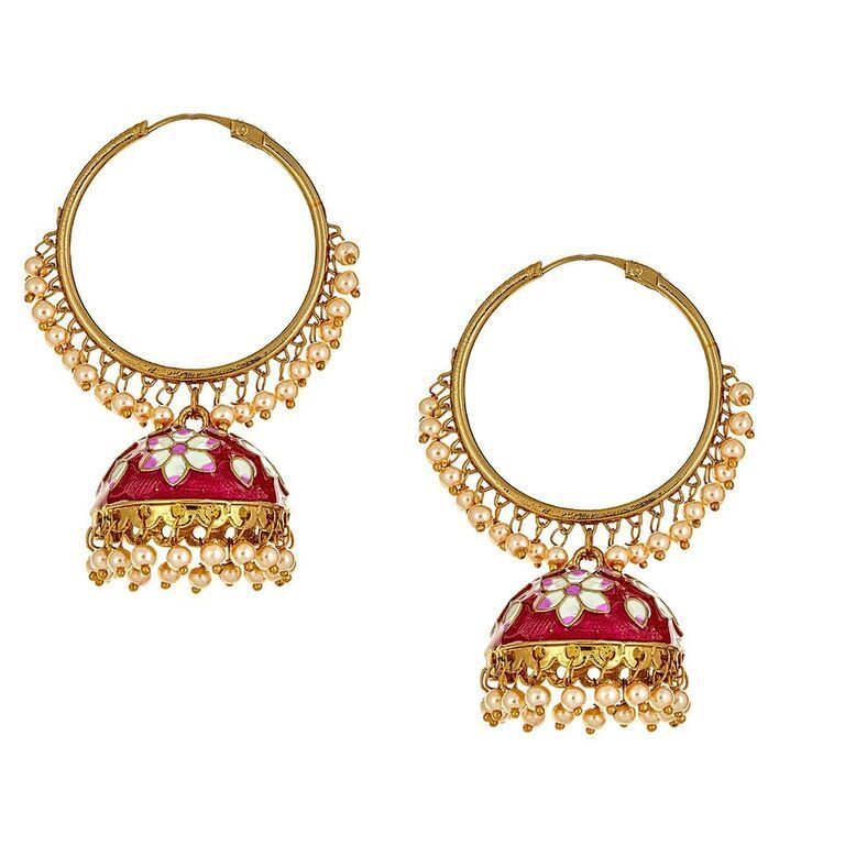 Svana Floral Earrings in Red