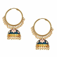 Svana Floral Earrings in Blue