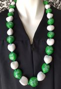 Hawaiian Kukui Nut Graduation Lei- Class of 2019 - Solid Green/White