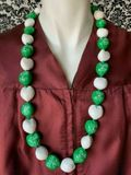 Hawaiian Kukui Nut Graduation Lei- Class of 2020 - Solid Green/White