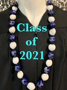Hawaiian Kukui Nut Graduation Le i- Class of 2021 - Solid Blue/White