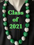 Hawaiian Kukui Nut Graduation Lei- Class of 2021 - Solid Green/White