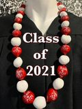 Hawaiian Kukui Nut Graduation Le i- Class of 2021 - Solid Red/White