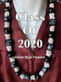 Hawaiian Kukui Nut Graduation Lei-Black with White Mongo Shells- Class of 2020