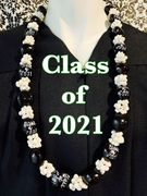 Hawaiian Kukui Nut Graduation Lei-Black with White Mongo Shells- Class of 2021