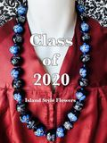 "Hawaiian Kukui Nut Graduation Lei- ""Class of 2020"" Blue Hibiscus-Custom Lei"